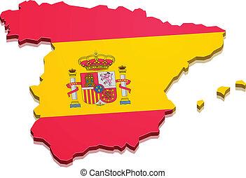 mapa, hiszpania