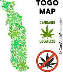 mapa, hojas, marijuana, libre, togo, realeza, composición