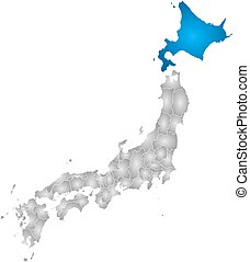 mapa, -, hokkaido, japón