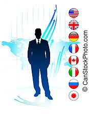 mapa, homem negócios, bandeiras, líder, mundo