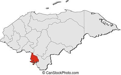 mapa, -, honduras, valle