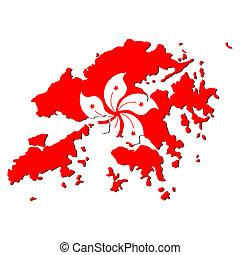 mapa, hong, bandera, kong