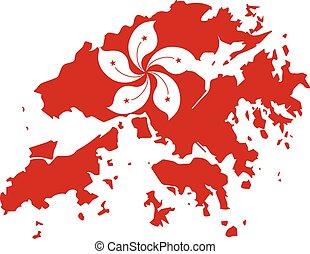 mapa, hong, contorno, ilustración, kong, bandera
