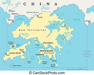 mapa, hong, vecindad, kong
