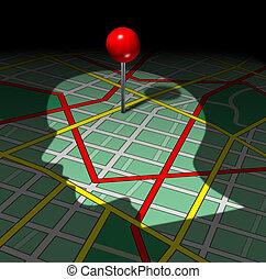 mapa, human, estrada