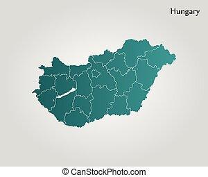 mapa, hungría