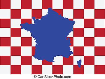 mapa, i, bandera, od, francja, francuska republika