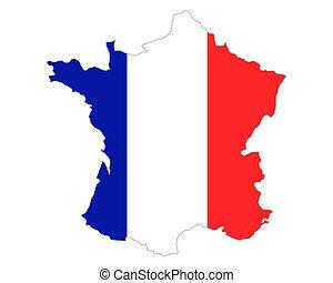 mapa, i, bandera, od, francja