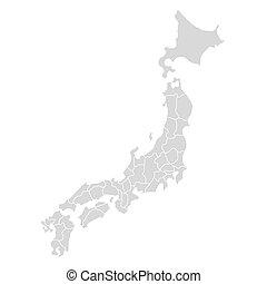 mapa, icon., vector, hokkaido, ai, map., asia, aislado, país...