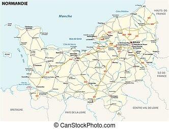 mapa, idioma, región, francés, normandía, nuevo, camino