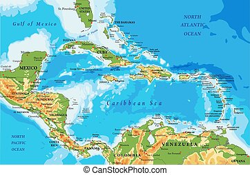 mapa, ilhas caraíbas, américa central, físico