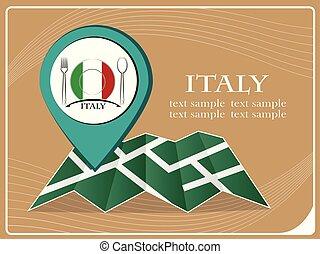 mapa, illustration., alimento, itália, vetorial, ponteiro