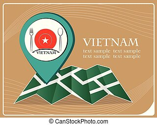 mapa, illustration., alimento, vetorial, vietnã, ponteiro