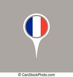 mapa, illustration., bandeira frança, vetorial, localização, ícone