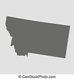 mapa, illustration., -, estado, vector, negro, montana