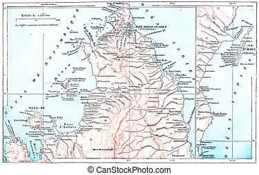 mapa, illustration., ilha, fleury, coisas, topográfico, larive, -, dicionário, mary, são, palavras, vindima, 1895, gravado, madagascar
