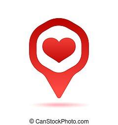 mapa, illustration., szpilka, sercowa forma, wektor, rozmieszczenie, tło, biały, wskazówka, czerwony, ikona