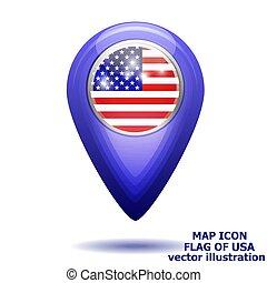 mapa, illustration., usa., bandeira, vetorial, ícone