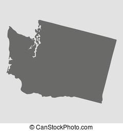 mapa, illustration., washington, -, estado, vector, negro