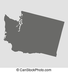 mapa, illustration., washington, -, estado, vetorial, pretas