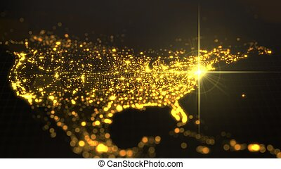 mapa, iluminado, potencia, densidad, energía, ilustración, américa, rayo, humano, areas., york., nuevo, ciudades, oscuridad, 3d