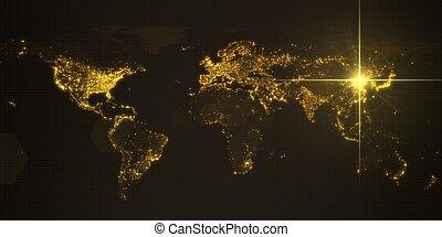 mapa, iluminado, potencia, densidad, energía, ilustración, oscuridad, rayo, beijing., humano, areas., china, ciudades, 3d