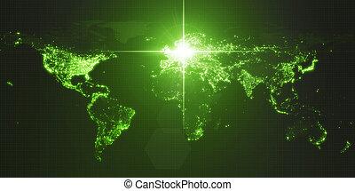 mapa, iluminado, potencia, densidad, energía, ilustración, oscuridad, rayo, berlin., humano, areas., ciudades, alemania, 3d