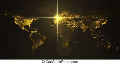 mapa, iluminado, potencia, densidad, energía, inglaterra, ilustración, oscuridad, rayo, humano, areas., ciudades, london., 3d