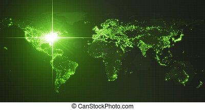 mapa, iluminado, potencia, densidad, energía, washington., ilustración, américa, rayo, humano, areas., oscuridad, ciudades, 3d