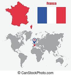 mapa, ilustração, bandeira frança, vetorial, pointer., mundo