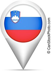 mapa, ilustração, bandeira slovenia, vetorial, ponteiro, shadow.