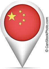 mapa, ilustração, bandeira, vetorial, china, ponteiro, shadow.