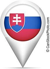 mapa, ilustração, bandeira, vetorial, eslováquia, ponteiro, shadow.