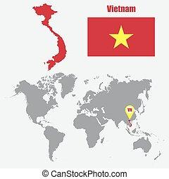 mapa, ilustração, bandeira, vetorial, pointer., mundo, vietnã