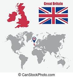 mapa, ilustração, bandeira, vetorial, reino unido, pointer., mundo