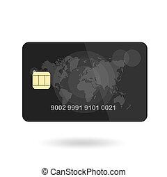 mapa, Ilustração, crédito, isolado, fundo, vetorial, mundo, branca, cartão