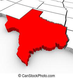 mapa, -, ilustração, sate, texas, 3d