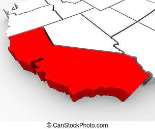 mapa, -, ilustración, california, saciar, 3d