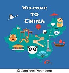 mapa, ilustración, elemento, vector, diseño, china