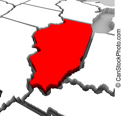 mapa, -, ilustración, illinois, estado, 3d