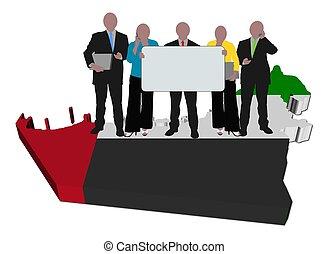 mapa, ilustración negocio, bandera, equipo, uae