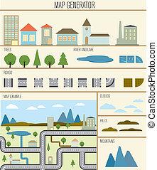 mapa, ilustración, vector, generador