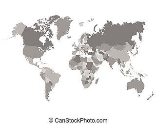 mapa, ilustracja, barwny, świat