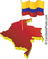 mapa, imagen, colombia