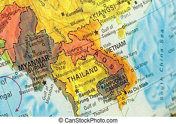 mapa, imagen, vietnam, laos., primer plano, tailandia