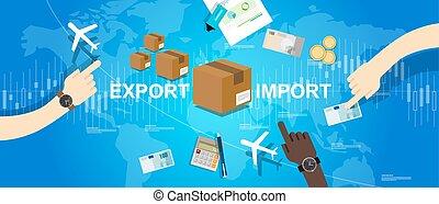 mapa, importación, comercio global, exportación, mundo, mercado internacional