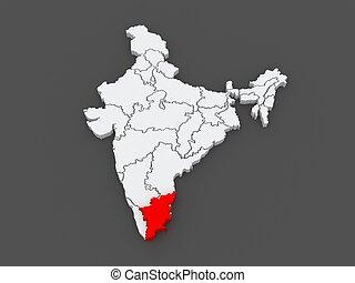 mapa, india., tamil, nadu.