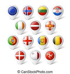 mapa, indicadores, con, flags., europe.