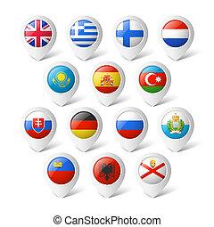 mapa, indicadores, flags., europe.