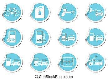 mapa, indicadores, servicio, coche